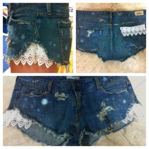 denim and lace cutoff shorts